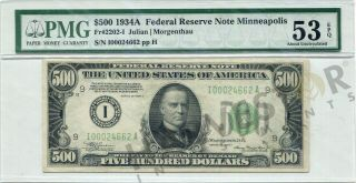1934 Fr 2202 - I $500 Bill Federal Reserve Note - Minneapolis - Rare Issue Pmg 53