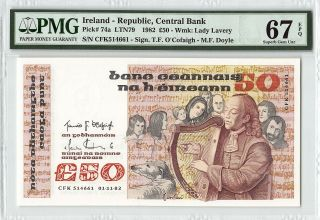 Ireland 1982 P - 74a Pmg Gem Unc 67 Epq 50 Pounds