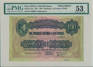 Nairobi Issue East Africa 100 Shillings 1941 Specimen Pmg 53