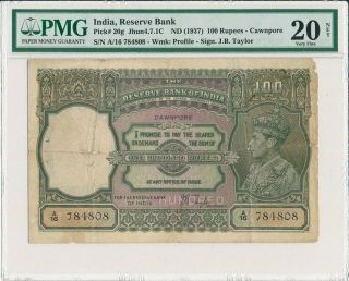 Reserve Bank India 100 Rupees Nd (1937) Cawnpore Pmg 20net