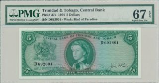 Central Bank Trinidad & Tobago $5 1964 Pmg 67epq