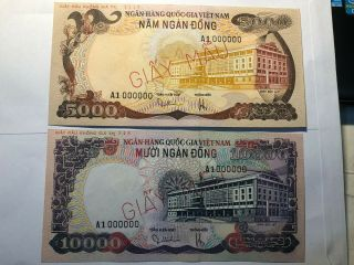 Banknote Viet Nam South 5000 10000 Dong Specimen Not Issued 1975 P35s 36s Unc