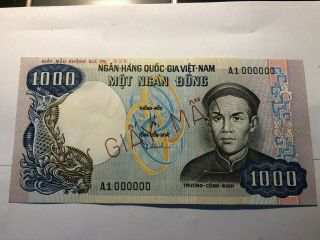 Banknote Viet Nam South 1000 Dong Specimen Not Issued 1975 P34a Unc - 1pcs Very R