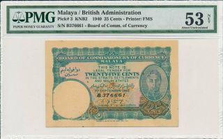 Board Of Comm.  Of Currency Malaya 25 Cents 1940 Rust,  Toning Pmg 53net