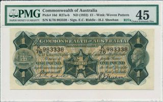 Reserve Bank Commonwealth Of Australia 1 Pound Nd (1932) S/no.  X83338 Pmg 45
