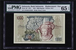 1952 Indonesia Bank Replacement/star 1000 Rupiah Pick 48 Pmg 66 Epqunc