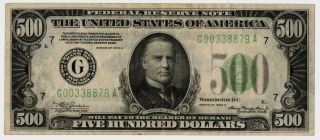 Series 1934 - A $500 Five Hundred Dollar Federal Reserve Note Chicago District Xf