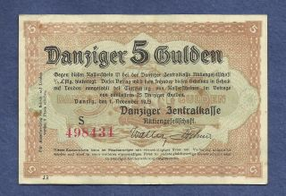 Danzig 5 Gulden 1923 Banknote 498434 (city Of Danzig) P - 50 Historic Note