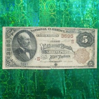 Us 1886 $5 National Currency National Bank Of Shreveport Bill/banknote Charter