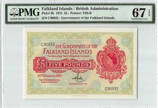 Falkland Islands 1975 P - 9b Pmg Gem Unc 67 Epq 5 Pounds