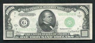 Fr.  2212 - G 1934 - A $1,  000 One Thousand Dollars Frn Chicago,  Il Au/unc