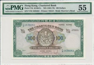 The Chartered Bank Hong Kong $100 Nd (1961 - 70) Pmg 55