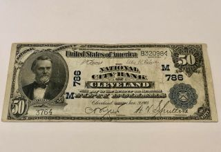 National City Bank Of Cleveland Oh $50 1902 National Currency Banknote Very Rare