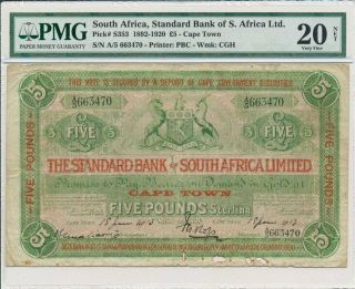 Standard Bank Of S.  Africa Ltd.  South Africa 5 Pounds 1913 Cape Town Pmg 20net