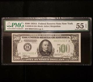 1934 - A $500.  Frn York Certified Pmg About Unc 55 Epq