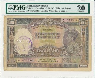 Reserve Bank Of India India 1000 Rupees Nd (1937) Calcutta Pmg 20