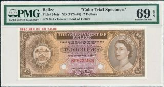 Government Of Belize Belize $2 Nd (1974 - 76) Color Trial Specimen Pmg 69epq