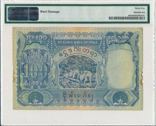 Reserve Bank of India Burma / British Adm.  100 Rupees ND (939) PMG 35NET 2