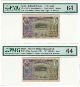 India Hyderabad Seq Pair 1 Rupee Nd (1950 - 53) P - S272g Jr 7.  3.  7 Melcote Pmg Unc 64