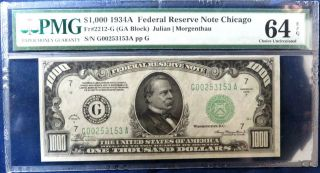 1934 $1000 Federal Reserve Note Chicago Pmg 64 Epq Exceptional Paper Quality