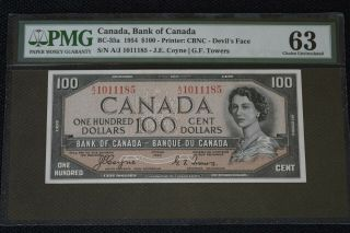"Bank Of Canada $100 1954 Bc - 35a "" Devils Face "" Pmg 63 Choice Unc"