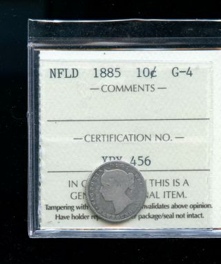 1885 Newfoundland 10 Cents Iccs Certified G4 Dsp9