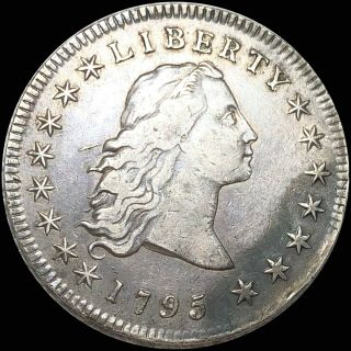 1795 Flowing Hair Dollar Bust Lightly Circulated Silver Xf Scarce Collectible Nr