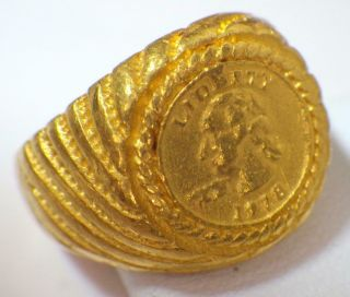 24k Pure Gold.  999 Hand Crafted Coin Custom Ring Band 11.  228 Grams Size 8.  25