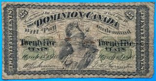 1870 25c Dominion Of Canada Twenty Five Cents Note Dickinson | Harington