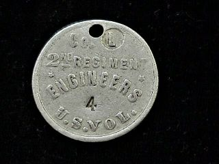 Spanam War Id Tag Co L 2nd Regiment Engineers Us Vols 4 Stamped On Dog Tag