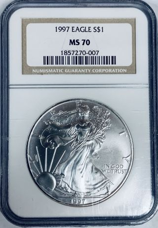 1997 $1 American Silver Eagle Ngc Ms70 1857270 - 007