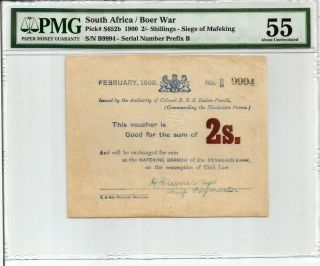 South Africa: Boer War Mafeking Siege 2 Shillings Prefix B.  P S652b Pmg 55