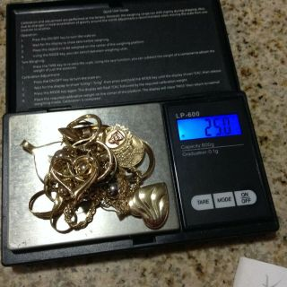 25.  0 Grams 14kt.  & 10kt Gold Estate Jewelry Scrap/wear Stamped&tested 1 Day Nr