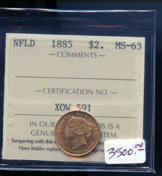1885 Newfoundland $2 Gold Iccs Certified Ms63 Books At $3500.  00 A988