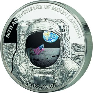 2019 Barbados 1 Kilogram 50 Years Of Moon Landing Colored Silver Proof Coin