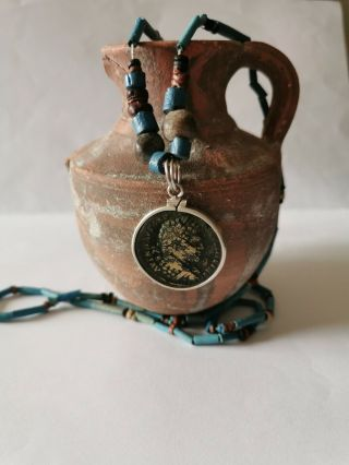 Roman Coin Chain With 2,  000 Year Old Coin Of Caracalla On Blue Faience