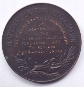 Belita Jepson Turner 1936 British Figure Skating Championship Bronze Medal 38mm