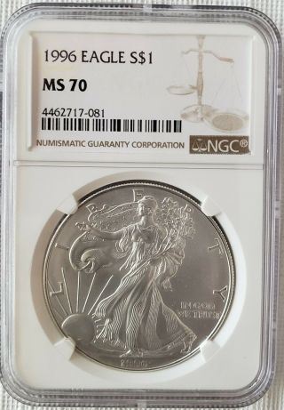 1996 American Silver Eagle Ngc Ms70 Only About 300 In Perfect Grade Books $7000