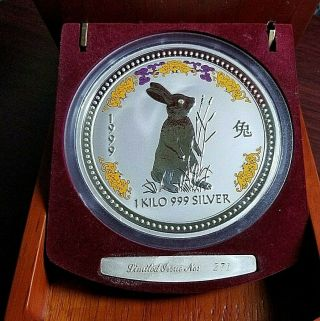 1999 Lunar Year Of The Rabbit $30 1 Kg/kilo Silver Coin With Diamond Eye 271