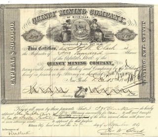Quincy Mining Company (of Michigan), .  1859 Common Stock Certificate
