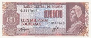 100 000 Pesos Unc Banknote From Bolivia 1984 Pick - 145
