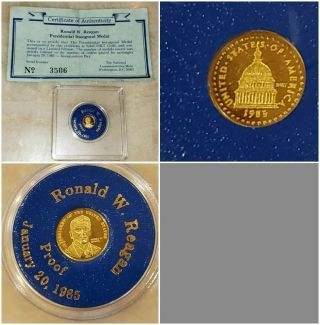 1985 Ronald W.  Reagan 24k Gold Proof Medal /coin Limited Edition With