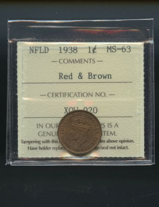1938 Newfoundland Small Cent Iccs Certified Ms63 Rb Dsp284