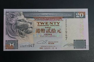 Hong Kong 1995 $20 Hsbc Note Ch - Unc Replacement Star Note Zz071947 (k090)
