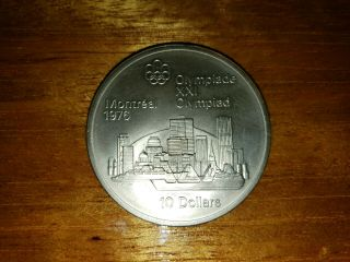 1973 Canada 10 Dollars 1976 Montreal Olympics Silver Coin