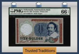 "Tt Pk 85 1953 Netherlands 10 Gulden "" Grapes "" Pmg 66 Epq Gem Uncirculated"