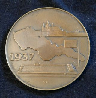 1937 Czechoslovakia Figure Skating Championship Medal 55mm Bronze