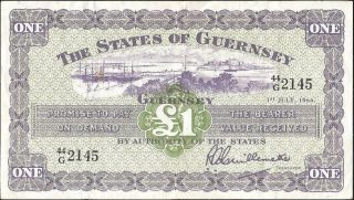 The States Of Guernsey 1 Pound 1966 P:43c Vf