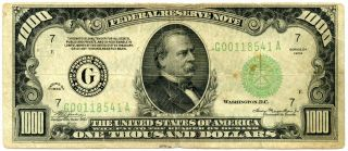 Series 1934 Us $1000 Federal Reserve Note | F/vf