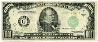 Series 1934 - A Us $1000 Federal Reserve Note | Fine
